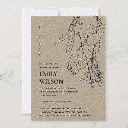 KRAFT LINE DRAWING FLORAL SHOWER BY MAIL INVITE