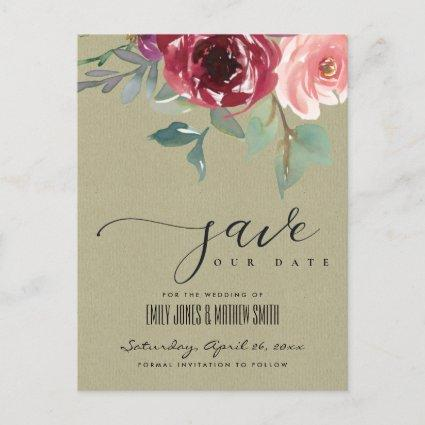 KRAFT MARSALA ROSE WATERCOLOR FLORAL SAVE THE DATE ANNOUNCEMENT
