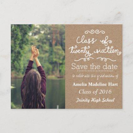 Kraft Paper Class Of 2016 | Save The Date Photo Announcements Cards