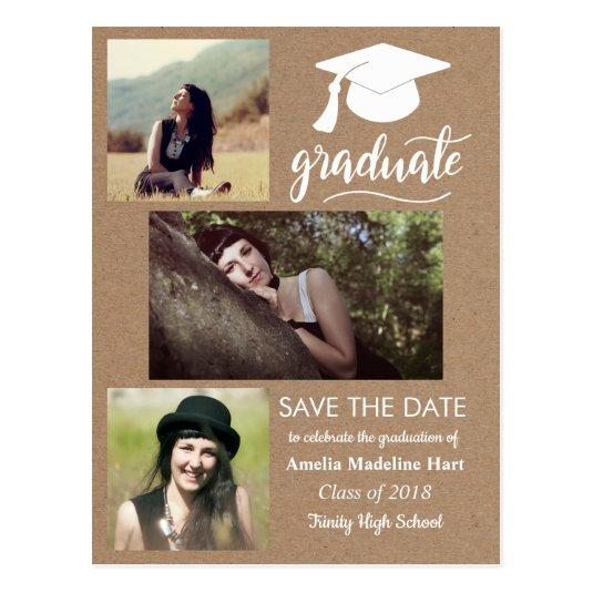 Kraft Paper Graduate | Save The Date Three Photo Cards