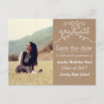 Kraft Paper Script Graduate | Save The Date Photo Announcements Cards