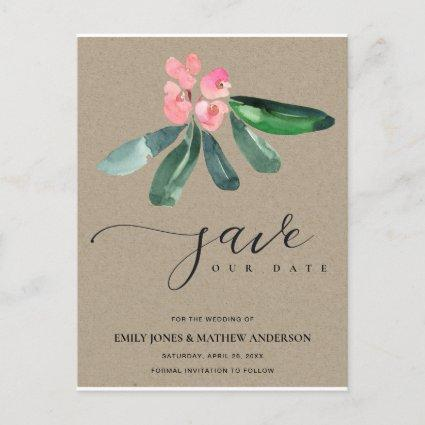KRAFT PINK CHRIST THORN CACTI BLOOM SAVE THE DATE ANNOUNCEMENT
