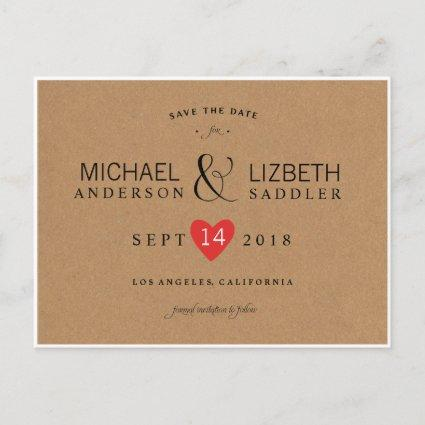 Kraft Save the Date, simple save the date Announcements Cards