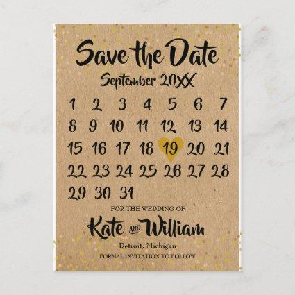 Kraft Style Calendar Save the Date Announcement
