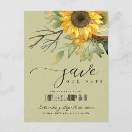 KRAFT SUNFLOWER WATERCOLOR FLORAL SAVE THE DATE ANNOUNCEMENT