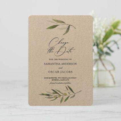 Kraft Watercolor Green Olive Branch  Save The Date