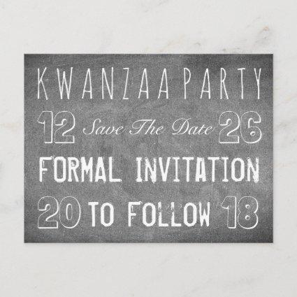 Kwanzaa Party Save The Date Chalkboard Style Announcement