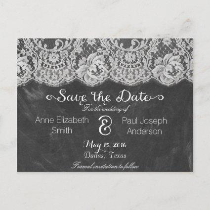 Lace and chalkboard Save the Date Announcement