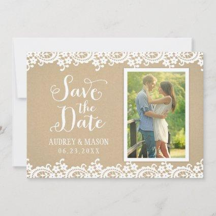 Lace and Kraft | Rustic Wedding Photo Save The Date