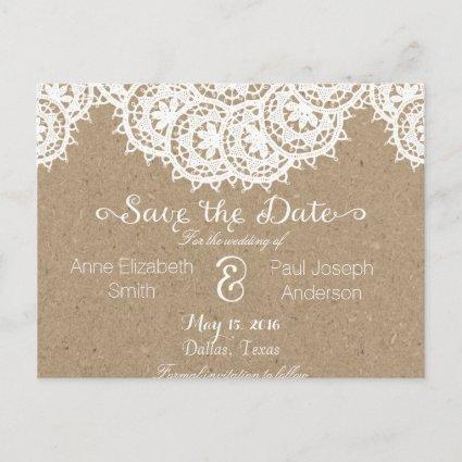 Lace and paper Save the Date Announcement