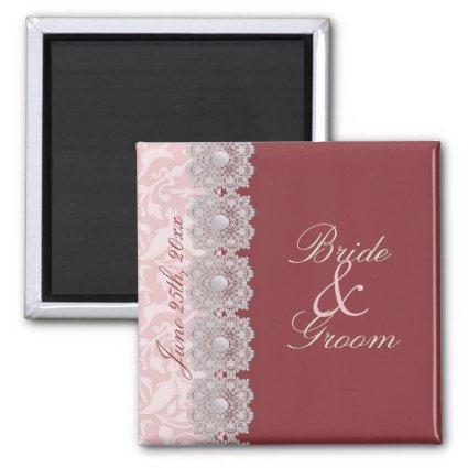 Lace and Pearls Raspberry Save the Date Magnet