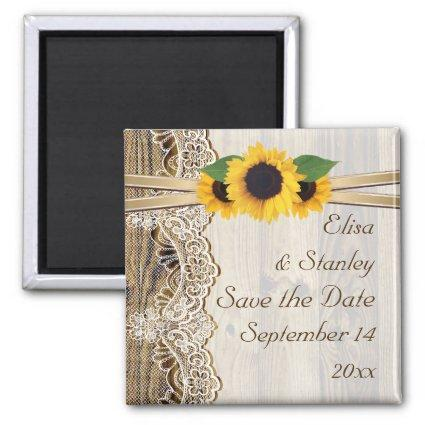 Lace and sunflowers wood wedding Save the Date Magnets