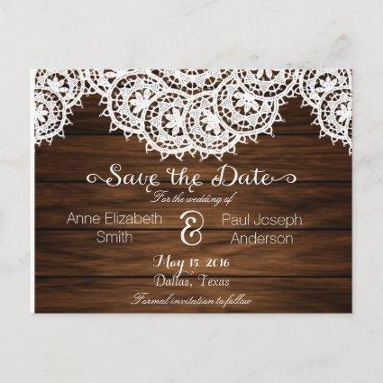 Lace and wood Save the Date Announcement