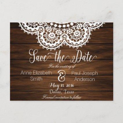 Lace and wood Save the Date II Announcement