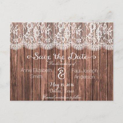 Lace and wood Save the Date IV Announcement