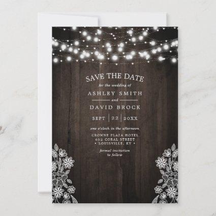 Lace And Wood String Lights Rustic Save The Date