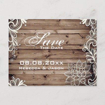 lace barn wood country wedding save the date announcement