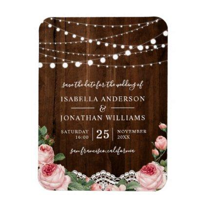 Lace & Lights | Rustic Rose Wedding Save The Date Magnet