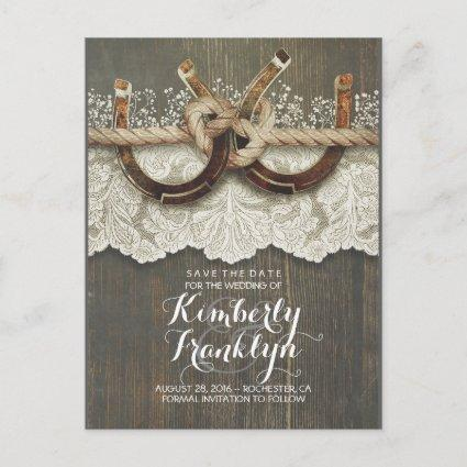 Lace Wood Horseshoes Rustic Country Save the Date Announcement