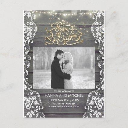 Lace Wood String Lights Rustic Photo Save The Date Announcement