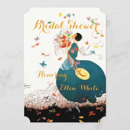 LADY WITH FLOWER BOUQUET AND BUTTERFLIES MONOGRAM INVITATION