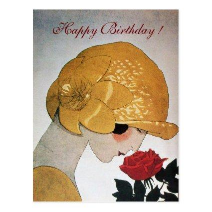 LADY WITH RED ROSE Happy Birthday