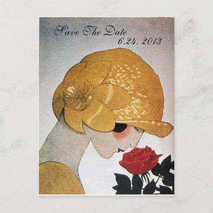 LADY WITH RED ROSE WEDDING SAVE THE DATE ANNOUNCEMENT