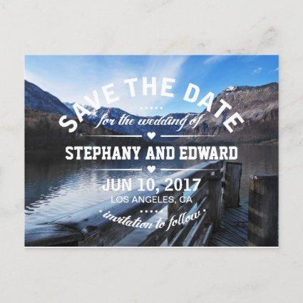 Lake Mountains Stylish Save the Date Cards