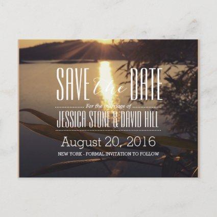 Lake Sunset Wedding Save the Date Announcement