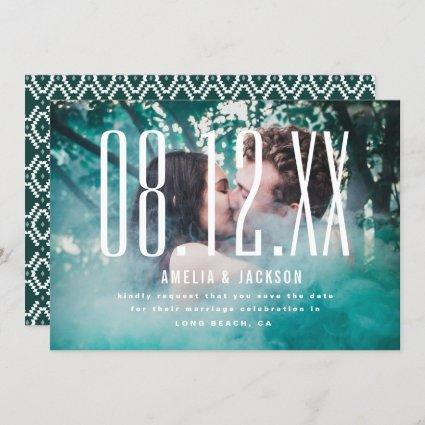 Large Date, bold typography, Save the Date Invitation