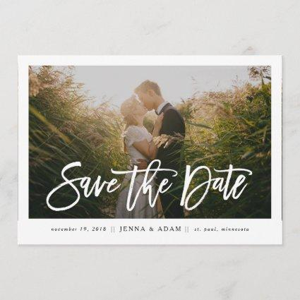 Large Photo Horizontal Calligraphy Save the Date