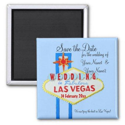 Las Vegas Save the Date Wedding blue Magnets
