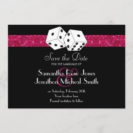 Las Vegas Theme Save the Date Pink Faux Glitter