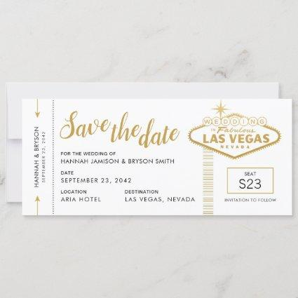 Las Vegas Wedding Boarding Pass Save the Date Card