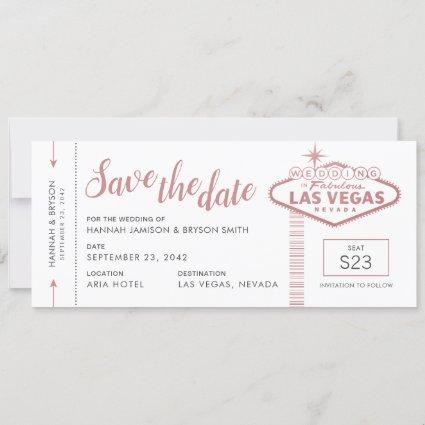 Las Vegas Wedding Plane Ticket Save the Date Card