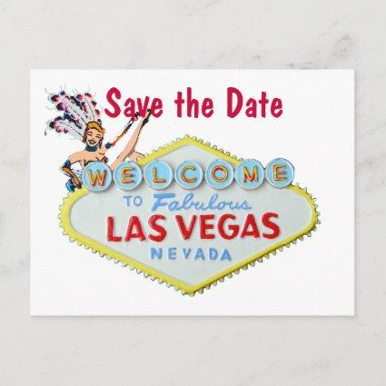 Las Vegas Wedding Sign with Showgirl Announcements Cards