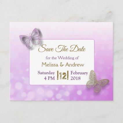 Lavender and Gold Butterfly Save the Dates Wedding Announcement