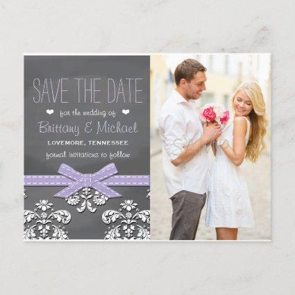 Lavender Chalkboard Lace Bow Save the Date Announcement