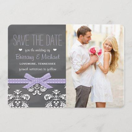 Lavender Chalkboard Lace & Bow Save the Date Card