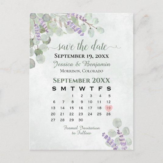 Lavender Eucalyptus Wedding Save the Date Calendar Announcement