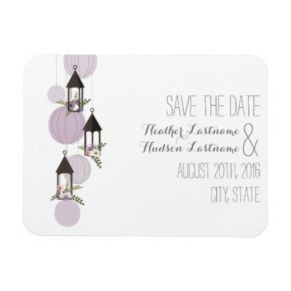 Lavender Floral Lanterns Save The Date Magnets