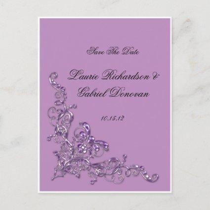 Lavender Ornate Jeweled Save The Date Announcement