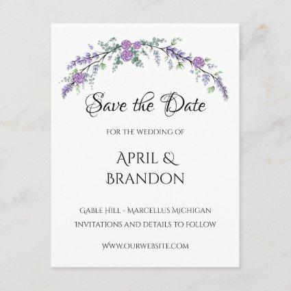 Lavender Roses and Eucalyptus Save The Date