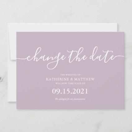 Lavender Script Lettering Resave the Date Wedding Save The Date