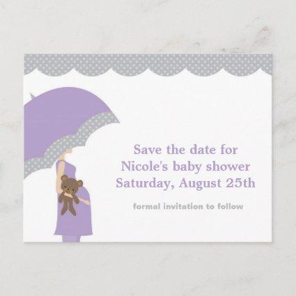 Lavender Umbrella Baby Shower Save the Date Announcement