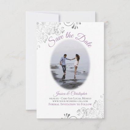 Lavender & White Simple Elegant Wedding Oval Photo Save The Date