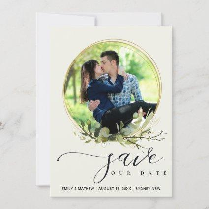 LEAF GREEN FOLIAGE WATERCOLOR PHOTO WREATH OVERLAY SAVE THE DATE