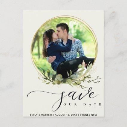 LEAFY GREEN FOLIAGE WATERCOLOR PHOTO SAVE THE DATE ANNOUNCEMENT