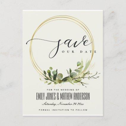 LEAFY GREEN GOLD FOLIAGE WATERCOLOR SAVE THE DATE ANNOUNCEMENT