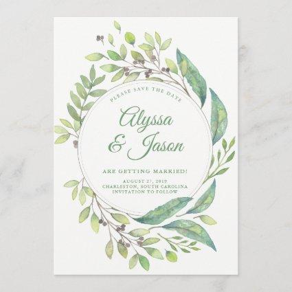Leafy Green | Save the Date with Photo and Names